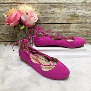 Sam Edelman Flynt Pink Suede Leather Lace Up Flats